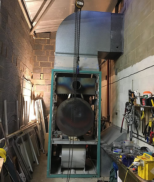 A Powrmatic CPxG175 gas fired cabinet heaer was installed, with suitable modifications made to the existing discharge & return ductwork.